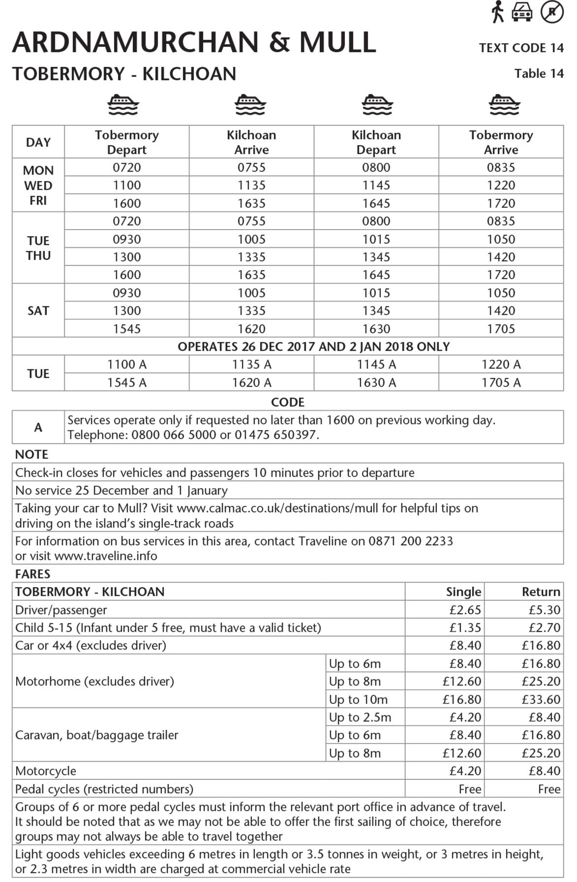 Table 14 Tobermory - Kilchoan Winter 2017-18 - This image is currently not accessible to screen readers. Please phone 0800 066 5000 for timetable details.