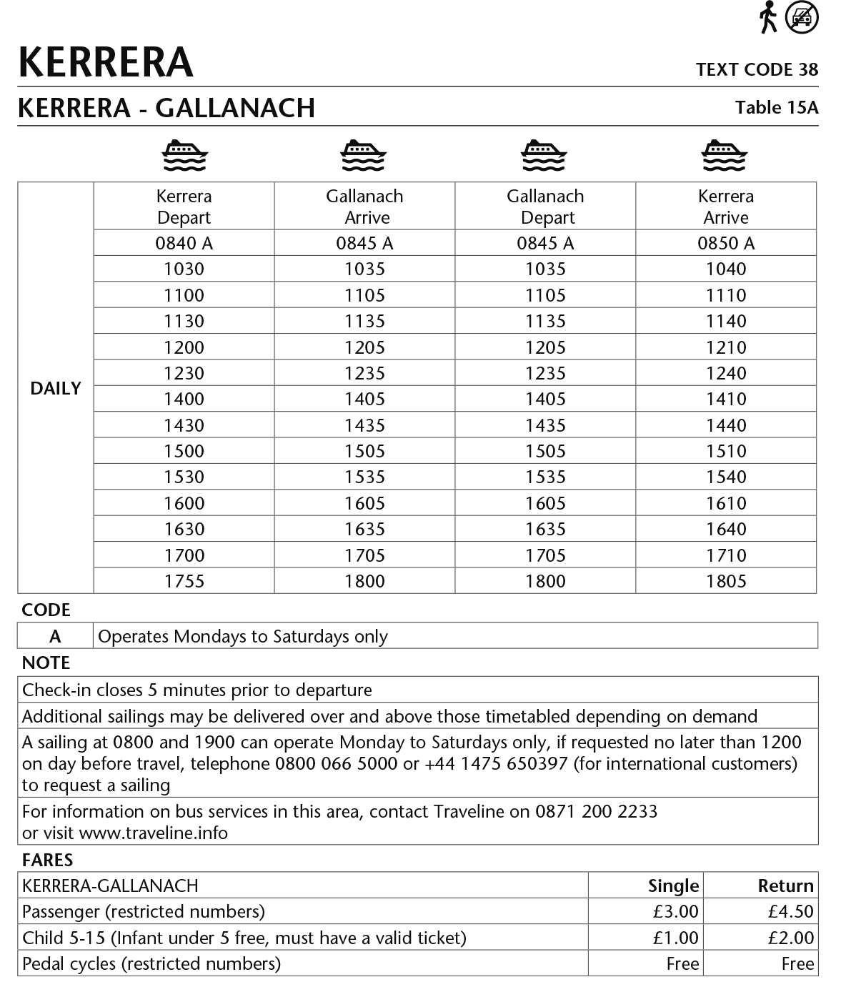 Table 15A Gallanach - Kerrera Summer 2017 This image is currently not accessible to screen readers. Please phone 0800 066 5000 for timetable details.