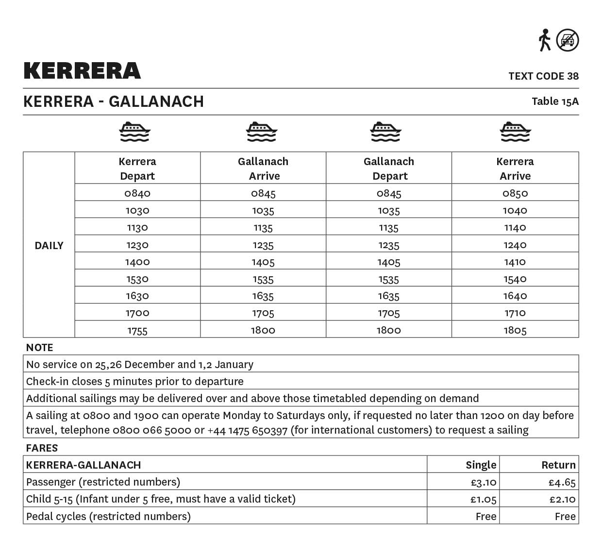 Table 15A Gallanach - Kerrera Winter 2018 This image is currently not accessible to screen readers. Please phone 0800 066 5000 for timetable details