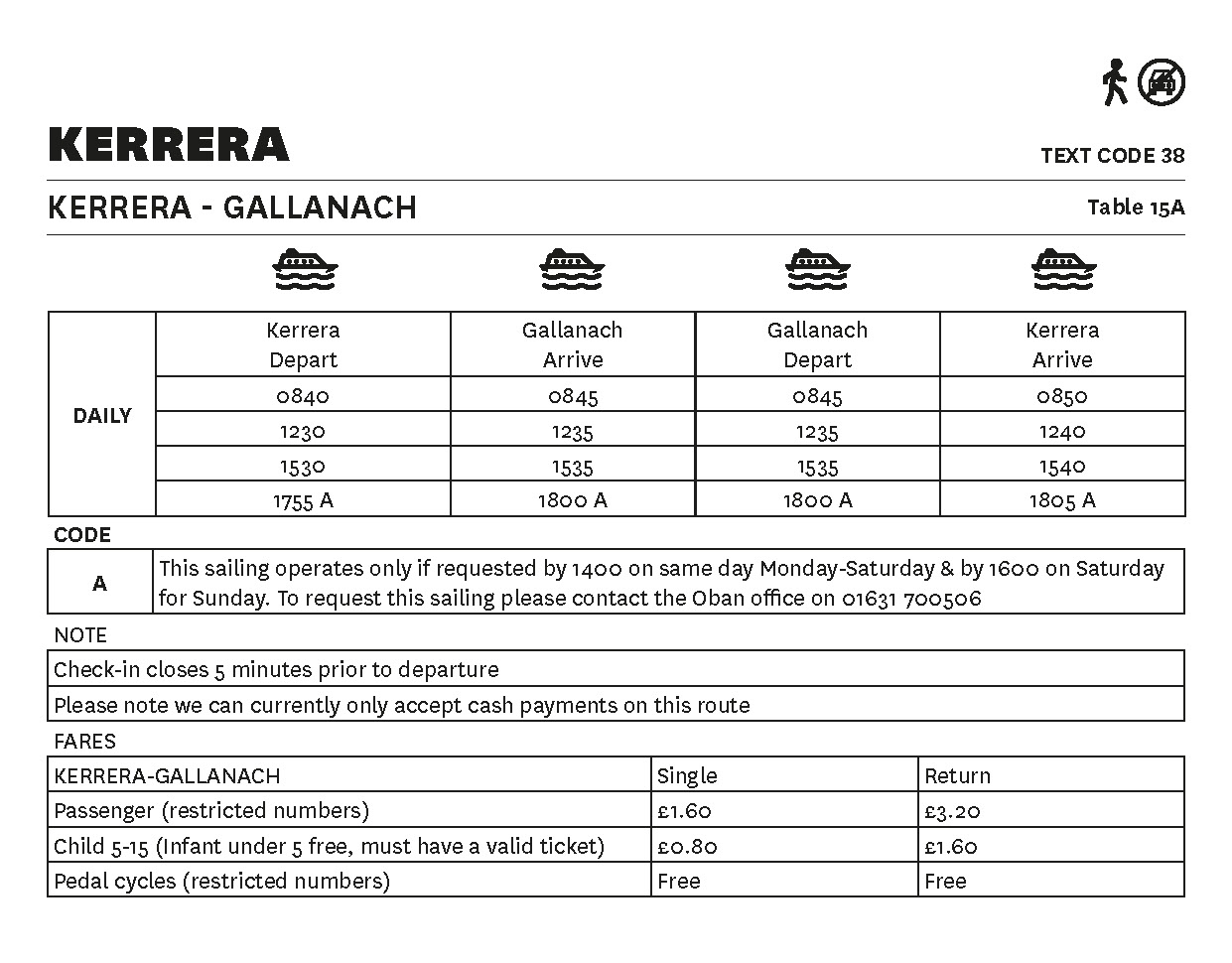 Table 15A Kerrera-Gallanach - Essential lifeline timetable - This image is currently not accessible to screen readers. Please phone 0800 066 5000 for timetable details.